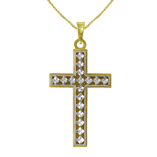 Majestique Womens 18K Gold Cross Pendant Necklace