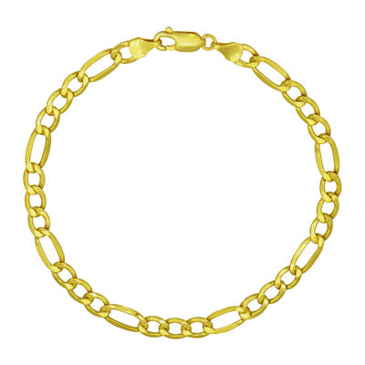 Made in Italy 18K Gold Hollow Figaro Chain Bracelet