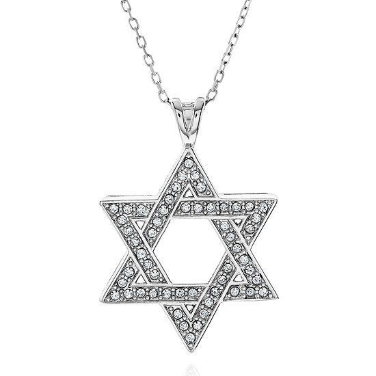 Crystal accent sterling silver star of david pendant necklace jcpenney crystal accent sterling silver star of david pendant necklace aloadofball Image collections