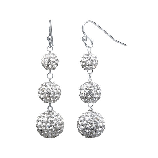 Crystal Accent Sterling Silver Fireball Drop Earrings
