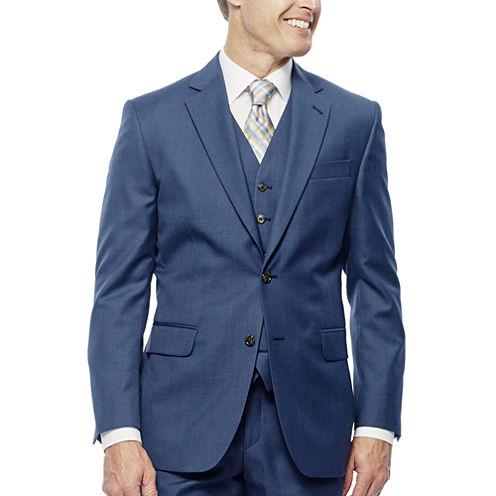 Stafford Travel Wool Blend Stretch Mid Blue Slim Fit Suit Jacket