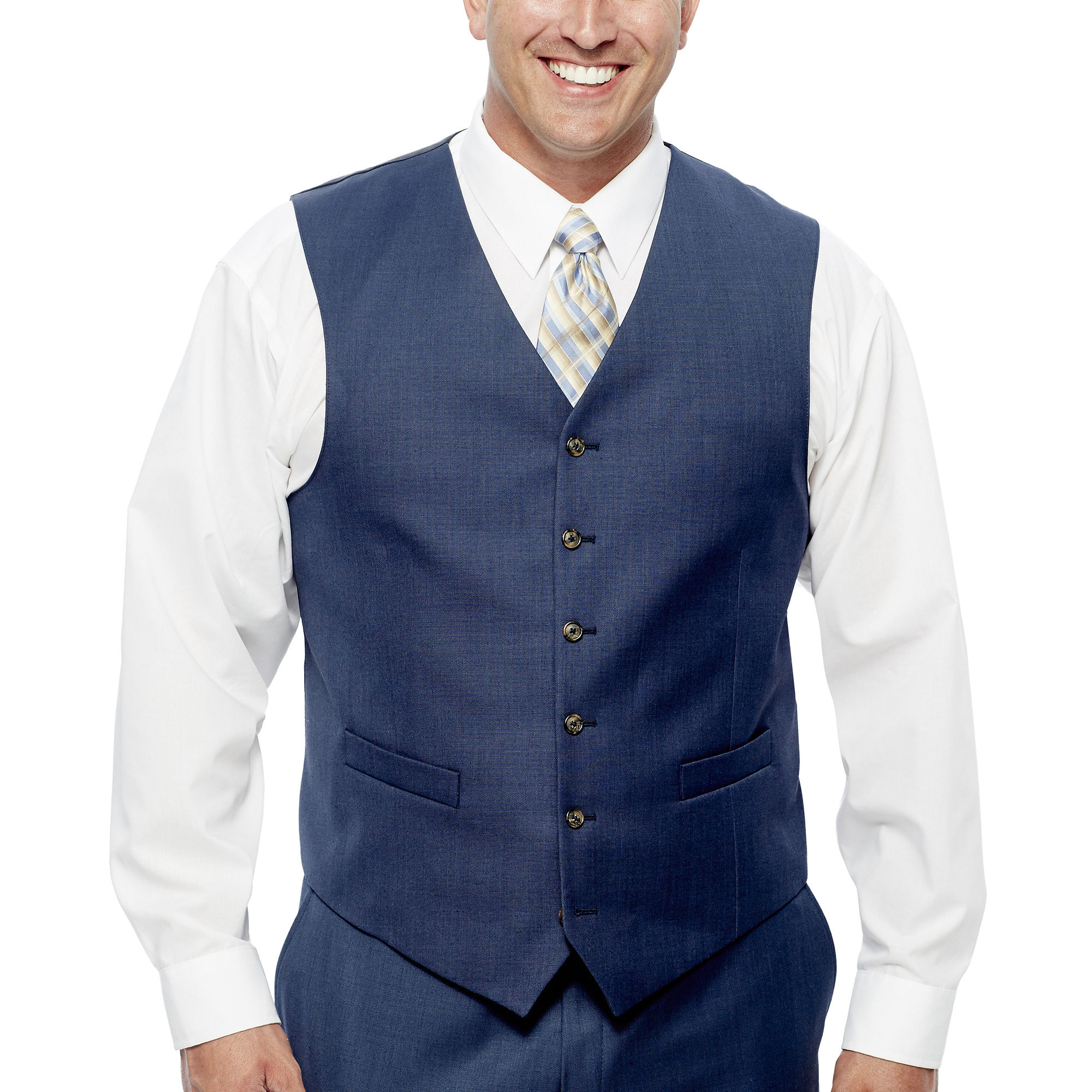 Stafford Travel Medium Blue Suit Vest - Big & Tall Fit