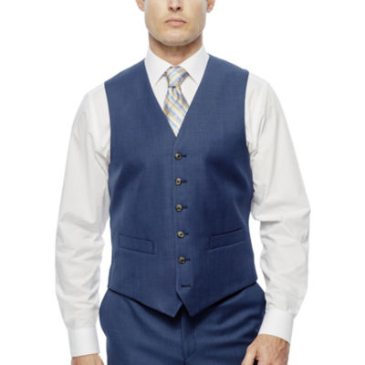 Stafford® Travel Medium Blue Suit Vest - Classic Fit