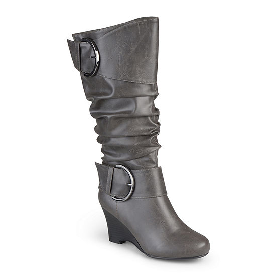 Journee Collection Womens Meme Wide Calf Wedge Boots