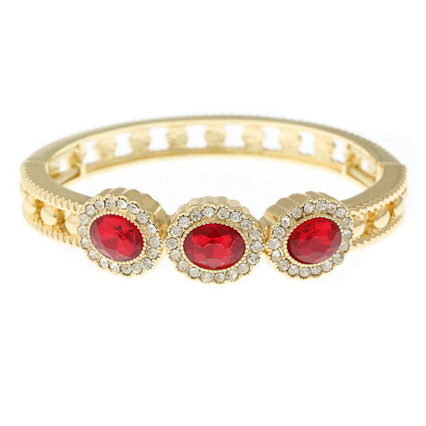 Monet® Red Crystal Gold-Tone Bangle Bracelet