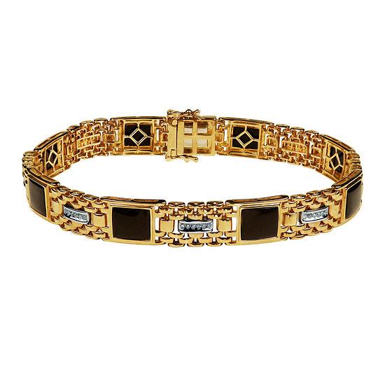 1/4 CT. T.W. Genuine Black Onyx 10K Gold 8 1/2 Inch Tennis Bracelet