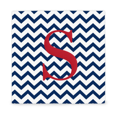 Cathy's Concepts Chevron Pattern Initial Wrapped Canvas