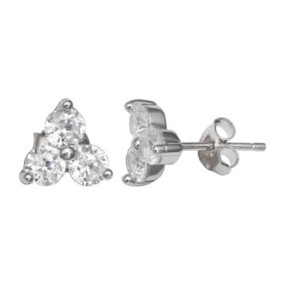 Silver Treasures Clear 7mm Round Stud Earrings