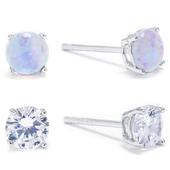 Silver Treasures 2 Pair Cubic Zirconia Round Earring Set