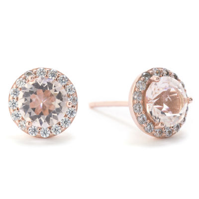 Silver Treasures Round Champagne Cubic Zirconia Stud Earrings