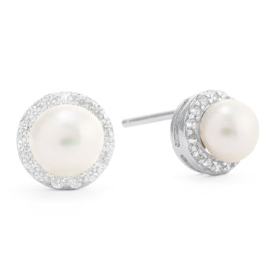Silver Treasures White Cultured Freshwater Pearl 8.5mm Round Stud Earrings