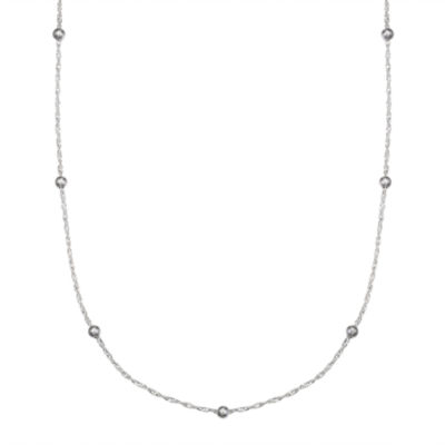 Silver Treasures Semisolid Bead 18 Inch Chain Necklace