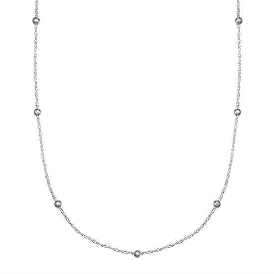 Silver Treasures 18 Inch Semisolid Bead Chain Necklace
