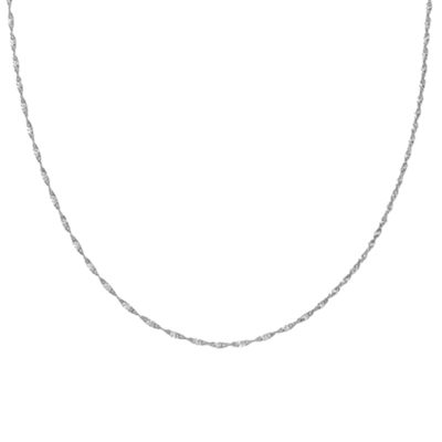Silver Treasures 16 Inch Solid Singapore Chain Necklace