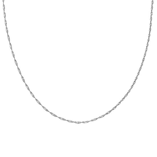 Silver Treasures 24 Inch Singapore Chain Necklace