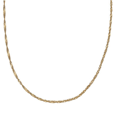 Silver Treasures 18 Inch Solid Singapore Chain Necklace