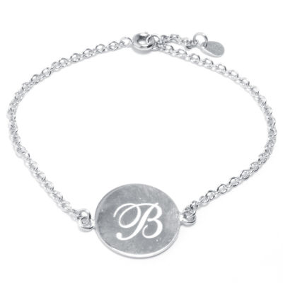 Silver Treasures Letter B Womens 7 Inch Silver Over Brass Link Bracelet