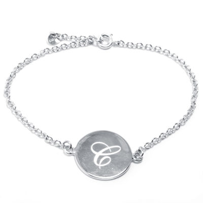 Silver Treasures Letter C 7 Inch Cable Link Bracelet