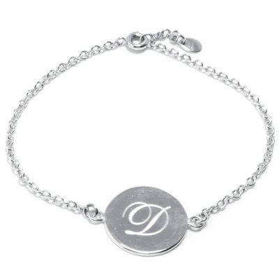 Silver Treasures Letter D Womens 7 Inch Silver Over Brass Link Bracelet