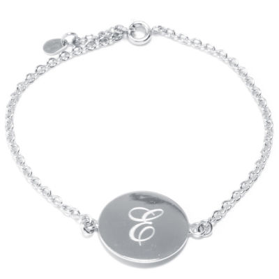 Silver Treasures Letter E Womens 7 Inch Silver Over Brass Link Bracelet