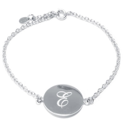 Silver Treasures Letter E 7 Inch Cable Link Bracelet