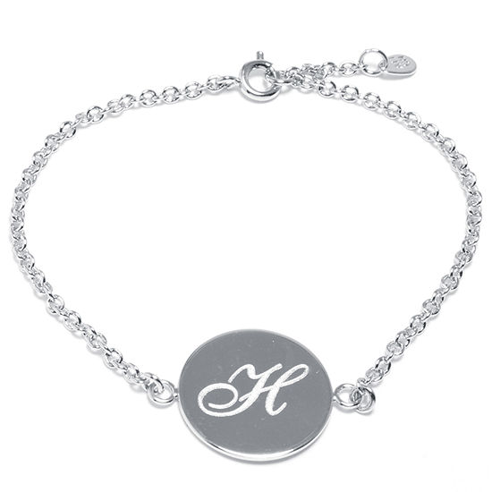 Silver Treasures Letter H Pure Silver Over Brass 7 Inch Cable Link Bracelet