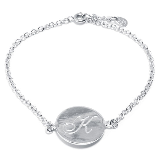 Silver Treasures Letter K Pure Silver Over Brass 7 Inch Cable Link Bracelet