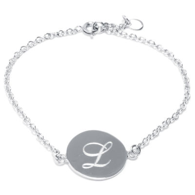 Silver Treasures Letter L Pure Silver Over Brass 7 Inch Cable Link Bracelet