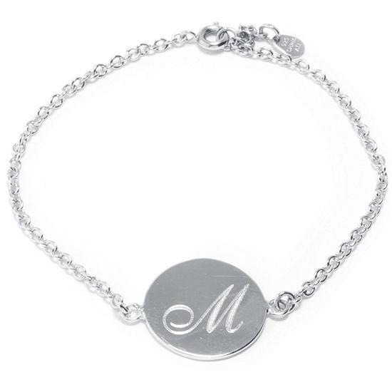 Silver Treasures Letter M 7 Inch Cable Link Bracelet