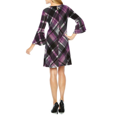 Jessica Howard 3/4 Bell Sleeve Plaid Shift Dress