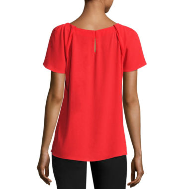 Worthington Short Sleeve Scoop Neck T-Shirt-Womens Talls