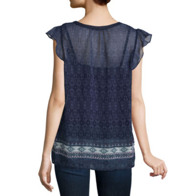 Liz Claiborne Short Sleeve Split Crew Neck Woven Blouse-Talls