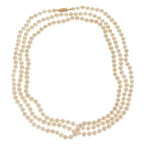 Womens 6MM Genuine White Cultured Freshwater Pearl 10K Gold Strand Necklace