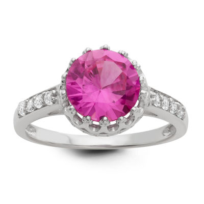 Womens Lab Created Pink Sapphire Round Cocktail Ring