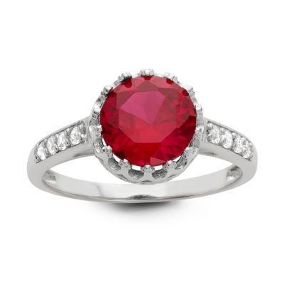 Womens Lab Created Red Ruby Sterling Silver Round Cocktail Ring