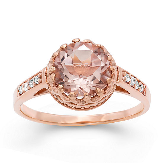 Womens Simulated Pink Morganite 14K Rose Gold Over Silver Round Cocktail Ring
