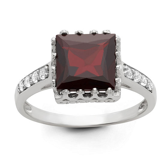 Womens Genuine Red Garnet Sterling Silver Cocktail Ring