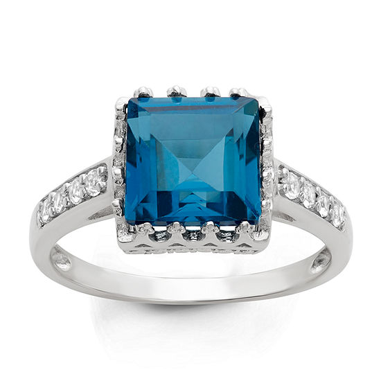 London Blue Womens Genuine Blue Topaz Sterling Silver Cocktail Ring