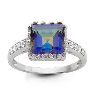Womens Blue Mystic Fire Topaz Sterling Silver Cocktail Ring