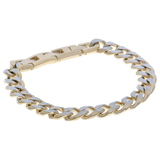 Stainless Steel 9 Inch Solid Curb Chain Bracelet