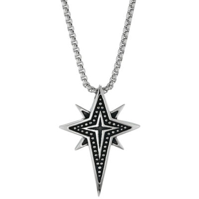 Mens Sterling Silver Star Pendant Necklace
