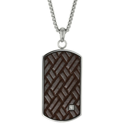 Mens White Cubic Zirconia Dog Tag Pendant Necklace