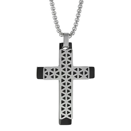 Mens Sterling Silver Cross Pendant Necklace