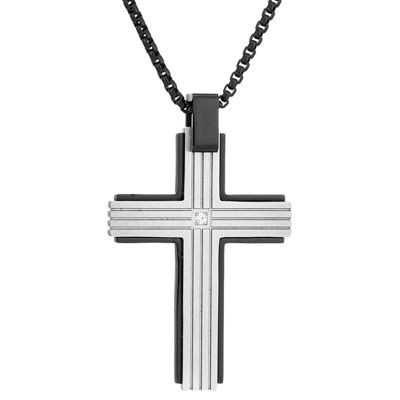 Mens White Cubic Zirconia Sterling Silver Cross Pendant Necklace