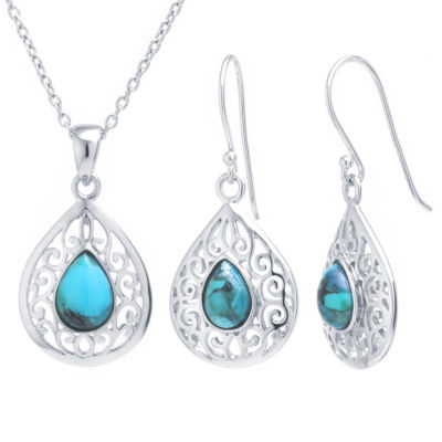 Womens 2-pc. Green Turquoise Sterling Silver Jewelry Set