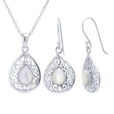 Womens White Mother Of Pearl Pear 2-pc. Jewelry Set