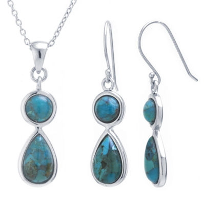 Womens 2-pc. Turquoise Sterling Silver Jewelry Set