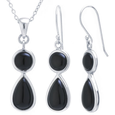 Womens 2-pc. Black Onyx Sterling Silver Jewelry Set