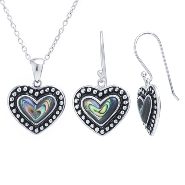 Womens 2-pc. Green Abalone Sterling Silver Jewelry Set