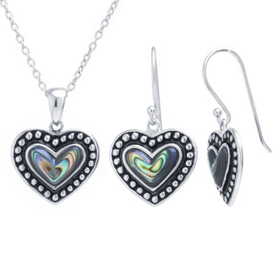 Green Abalone Sterling Silver Pear 2-pc. Jewelry Set